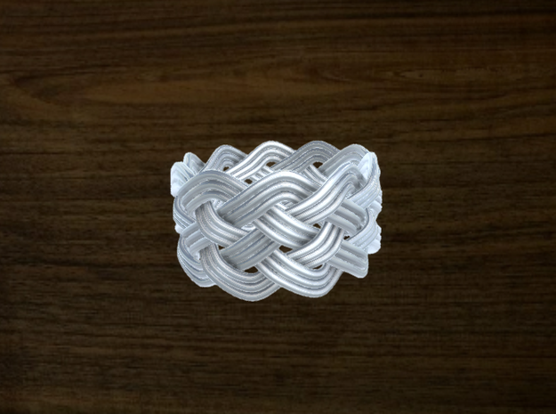 Turk's Head Knot Ring 5 Part X 10 Bight - Size 10 in White Natural Versatile Plastic
