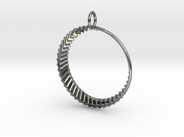 Luna 2 Pendant in Fine Detail Polished Silver