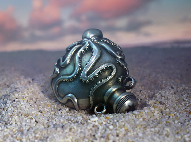 Octopus Vial Pendant in Polished Silver