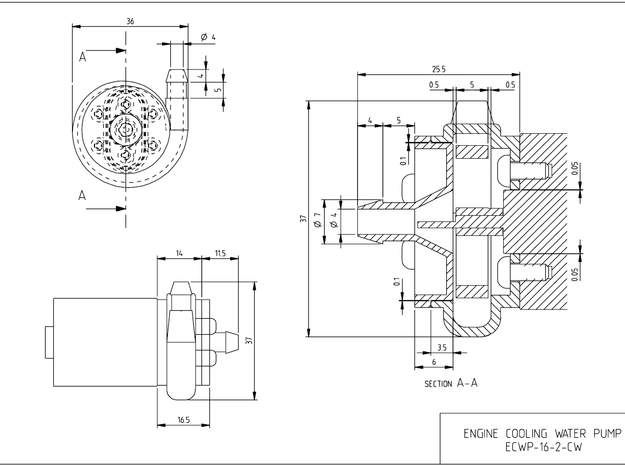 MODEL BOAT ENGINE COOLING WATER PUMP 3d printed DIMENTIONED DRAWING
