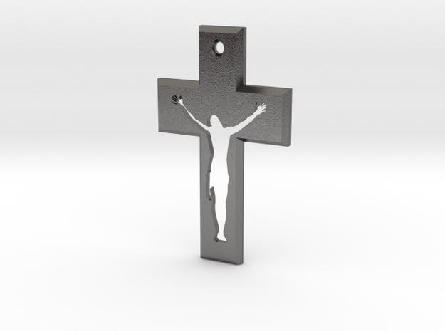 Crucifix Gamma 5x3cm in Polished Nickel Steel