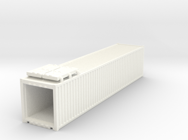 40' Container.HO Scale (1:87) in White Strong & Flexible Polished