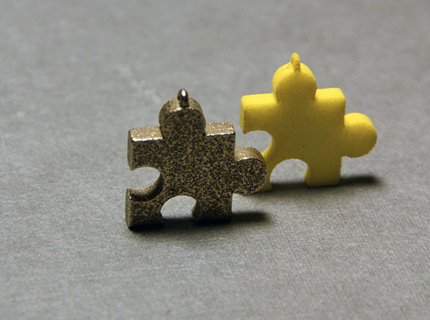 Small Jiggy Pendant 3d printed Stainless Steel and Yellow Strong and Flexible plastic