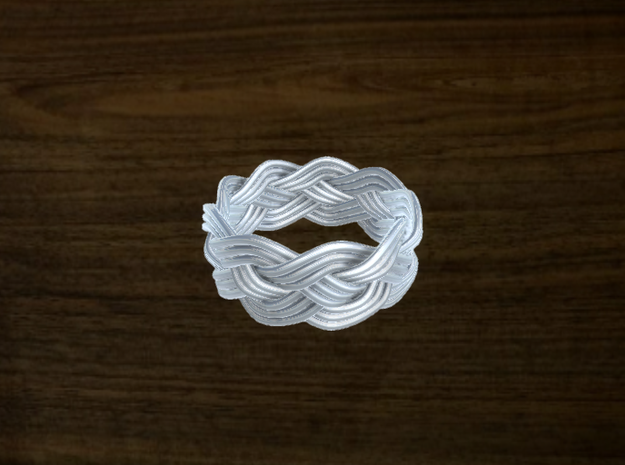 Turk's Head Knot Ring 4 Part X 9 Bight - Size 8 in White Natural Versatile Plastic