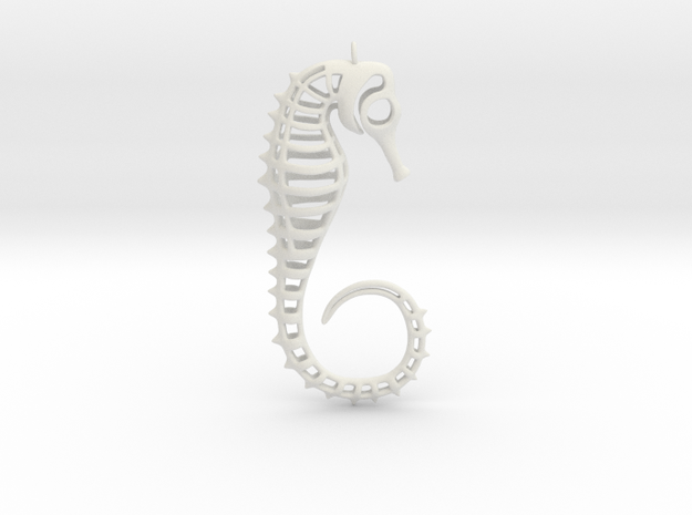 Seahorse Ornament in White Natural Versatile Plastic