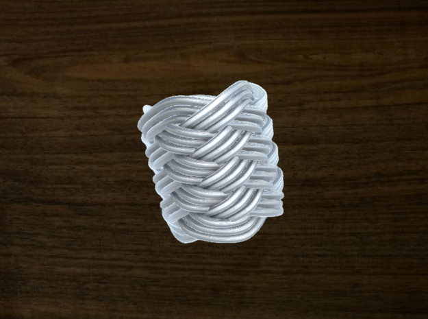 Turk's Head Knot Ring 9 Part X 5 Bight - Size 0 in White Natural Versatile Plastic