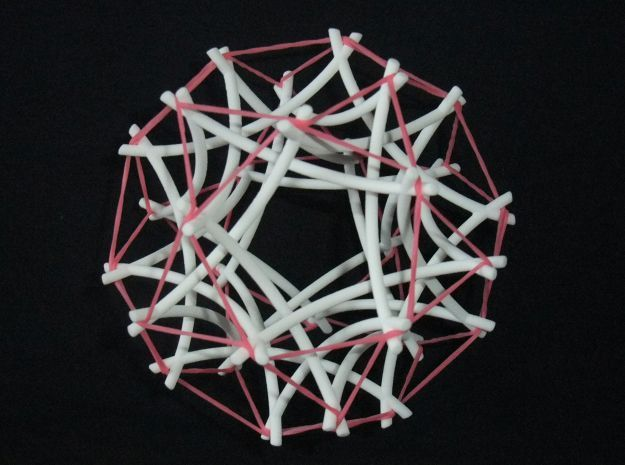 Tensegrity Icosidodecahedron 2 in White Strong & Flexible