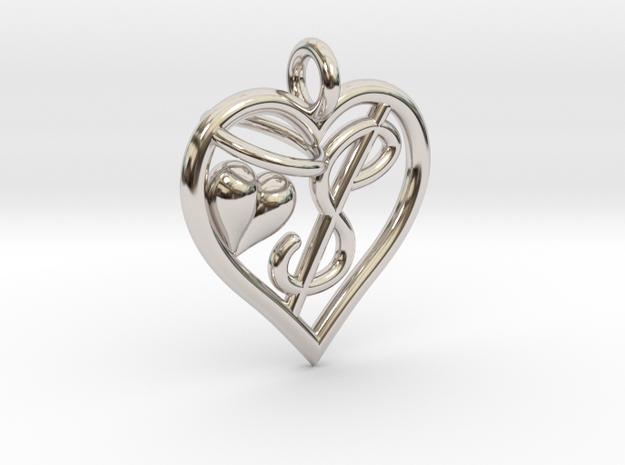 HEART $ in Rhodium Plated Brass