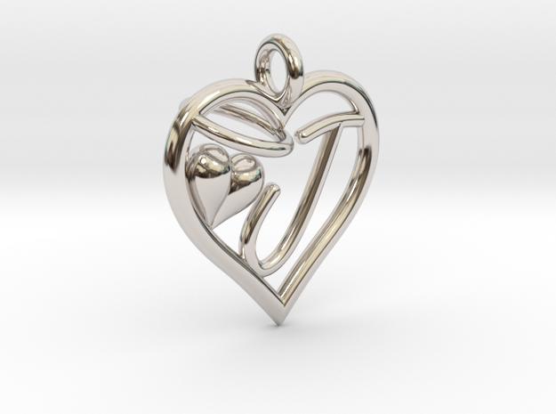 HEART J in Rhodium Plated Brass