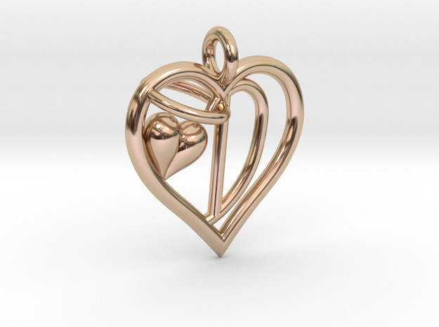 HEART D in 14k Rose Gold Plated Brass