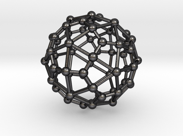 0312 Deltoidal Hexecontahedron V&E (a=1cm) #003 in Polished and Bronzed Black Steel