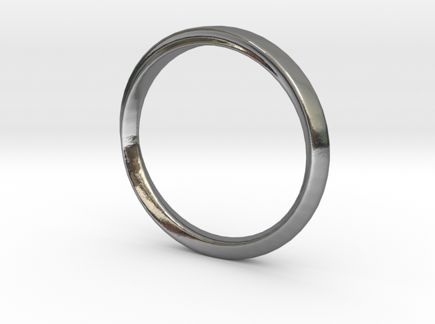 Mobius Ring with Groove Size US 3.75 in Polished Silver