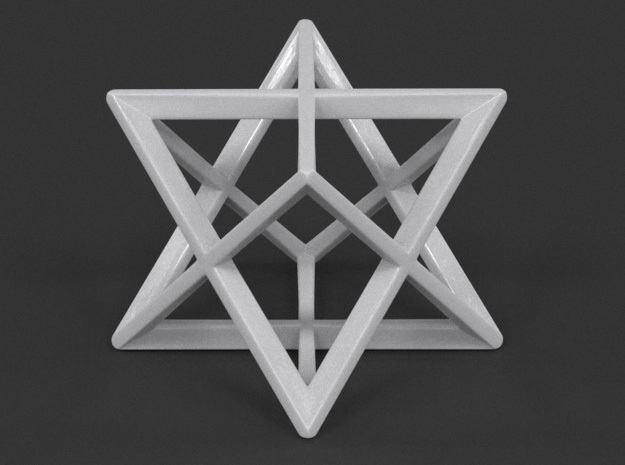 Stellated Octahedron (Merkaba) in White Strong & Flexible Polished