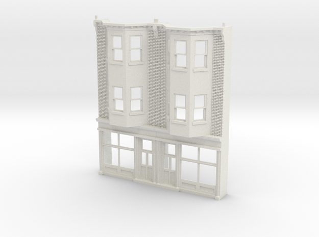 O scale WEST PHILLY 3S ROW STORE Twin Brick in White Natural Versatile Plastic