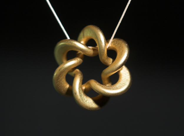 Flared Circular Double Helix Pendant in White Natural Versatile Plastic