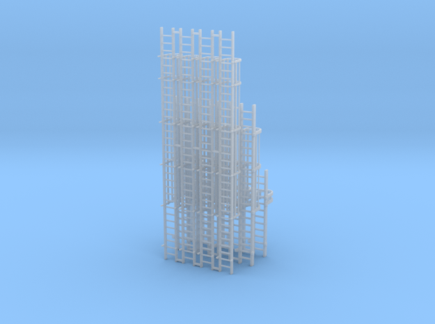 'HO Scale' - Variety Pack of Caged Ladder in Smooth Fine Detail Plastic