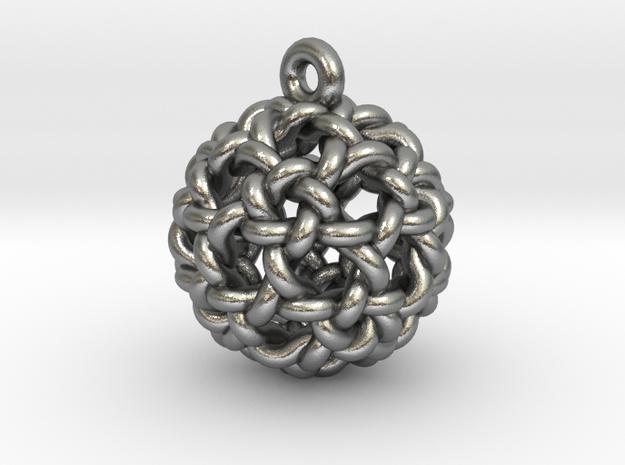 Icosidodeca Knot Earring in Raw Silver