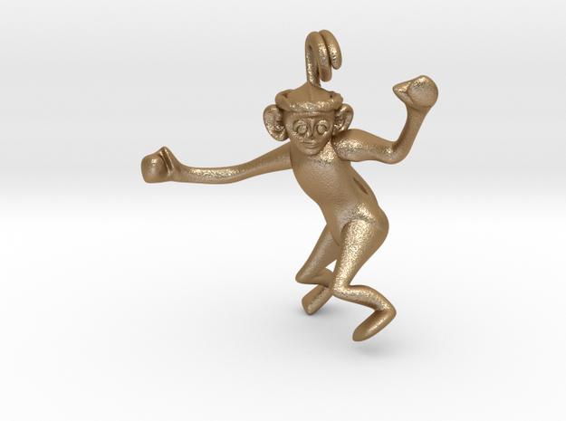 3D-Monkeys 009 in Matte Gold Steel