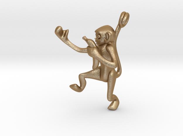 3D-Monkeys 012 in Matte Gold Steel