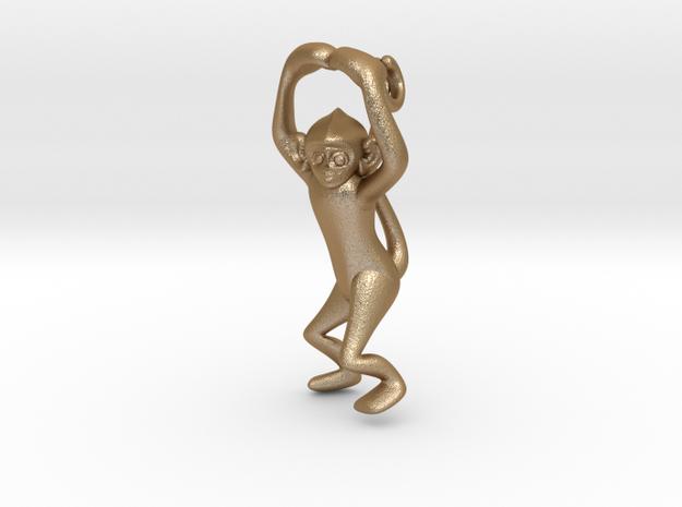 3D-Monkeys 031 in Matte Gold Steel