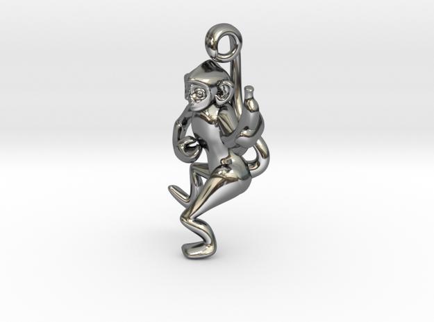 3D-Monkeys 036 in Fine Detail Polished Silver