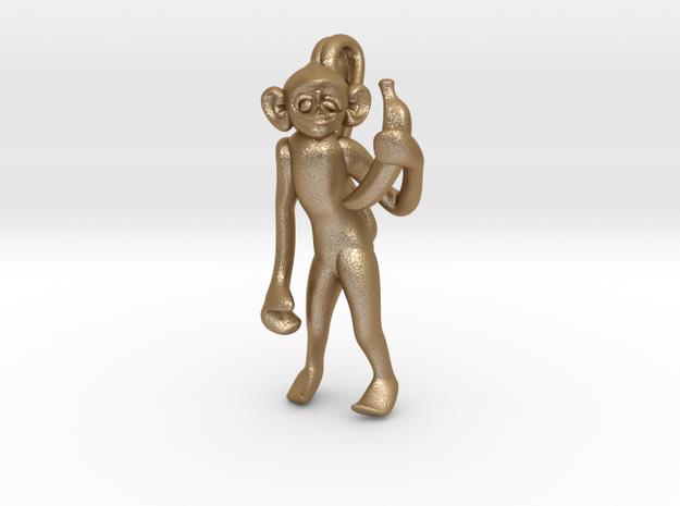 3D-Monkeys 042 in Matte Gold Steel