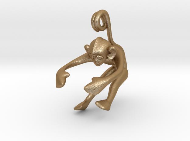 3D-Monkeys 047 in Matte Gold Steel