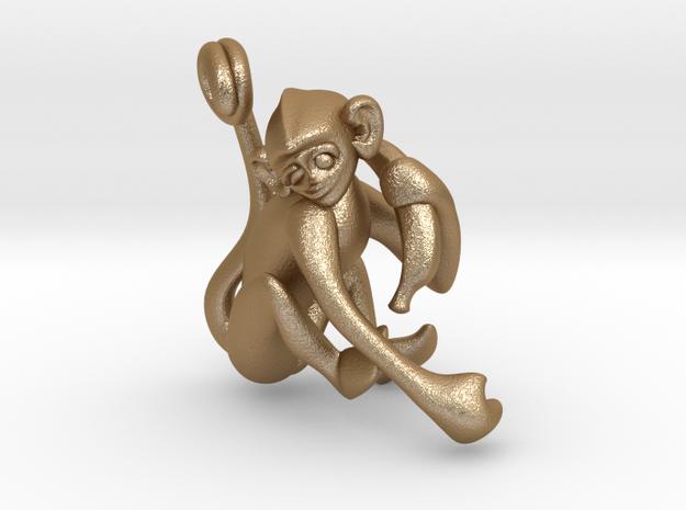 3D-Monkeys 049 in Matte Gold Steel