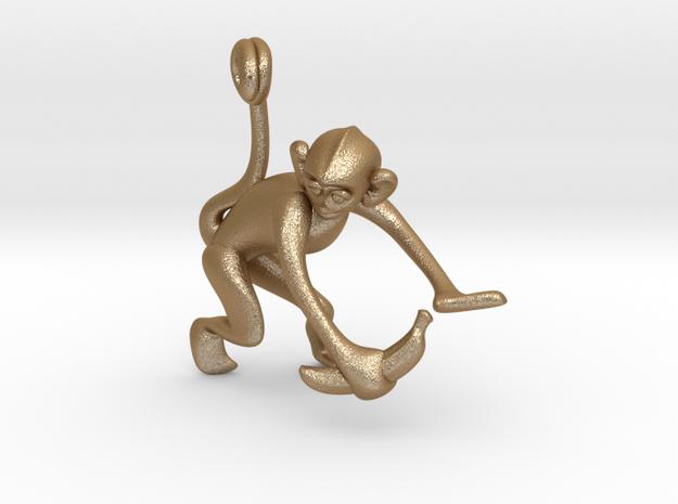 3D-Monkeys 051 in Matte Gold Steel