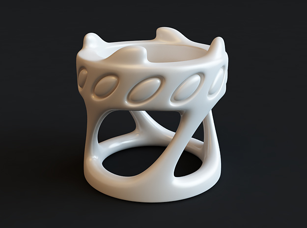Tealight Holder in White Processed Versatile Plastic