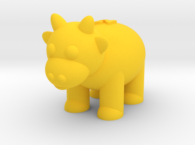 Cow (Nikoss'Animals) in Yellow Strong & Flexible Polished