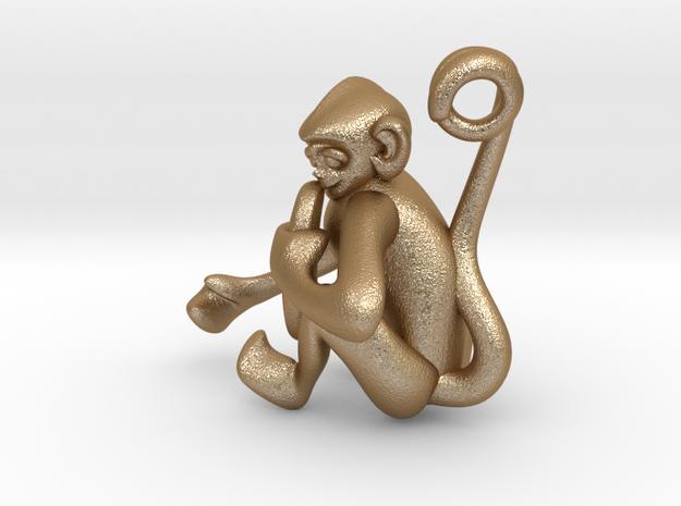 3D-Monkeys 062 in Matte Gold Steel