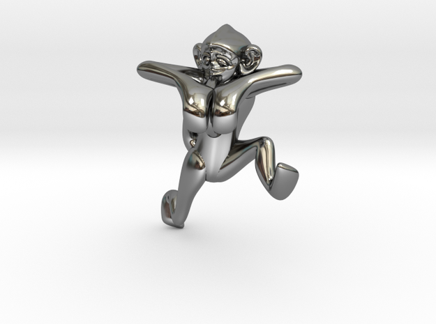 3D-Monkeys 087 in Fine Detail Polished Silver