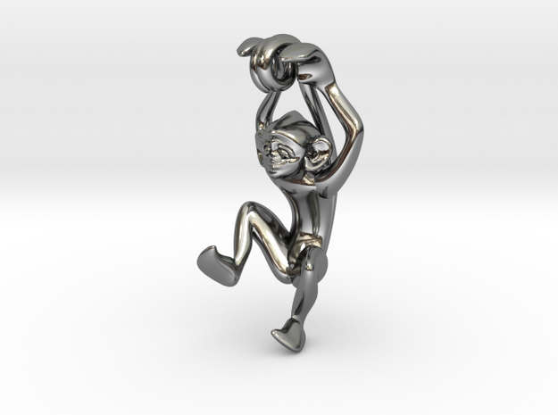3D-Monkeys 088 in Fine Detail Polished Silver