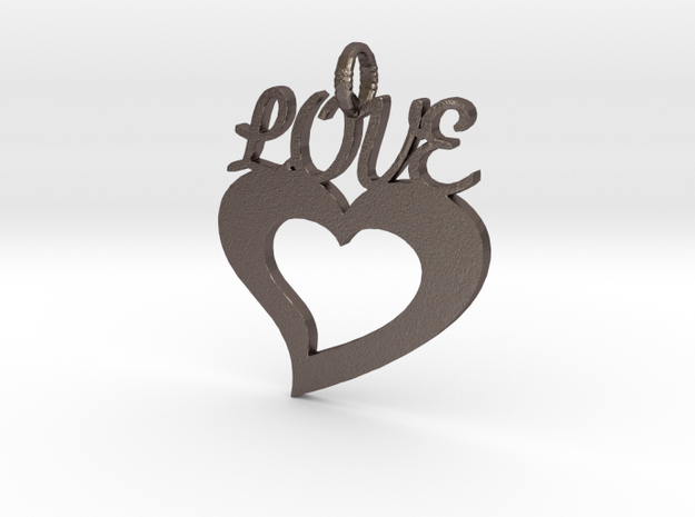 Love Heart Pendant in Polished Bronzed Silver Steel