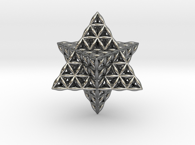 Flower Of Life Star Tetrahedron in Polished Silver
