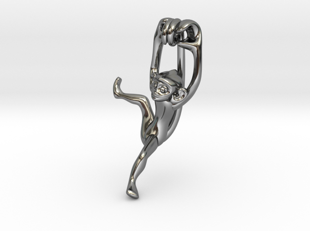 3D-Monkeys 115 in Fine Detail Polished Silver