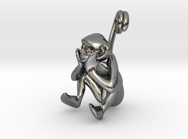 3D-Monkeys 135 in Fine Detail Polished Silver