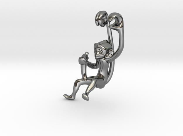 3D-Monkeys 139 in Fine Detail Polished Silver