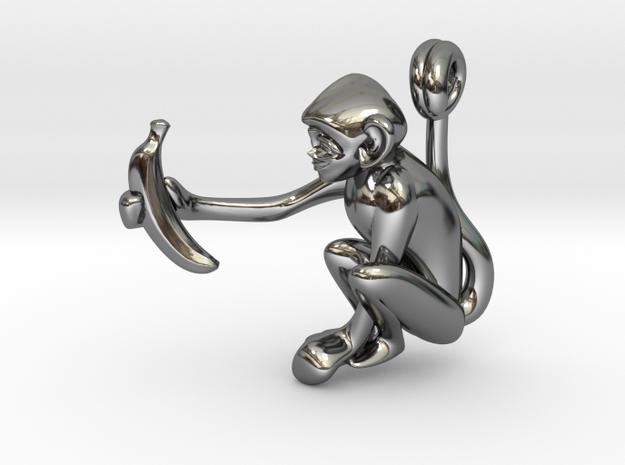 3D-Monkeys 155 in Fine Detail Polished Silver