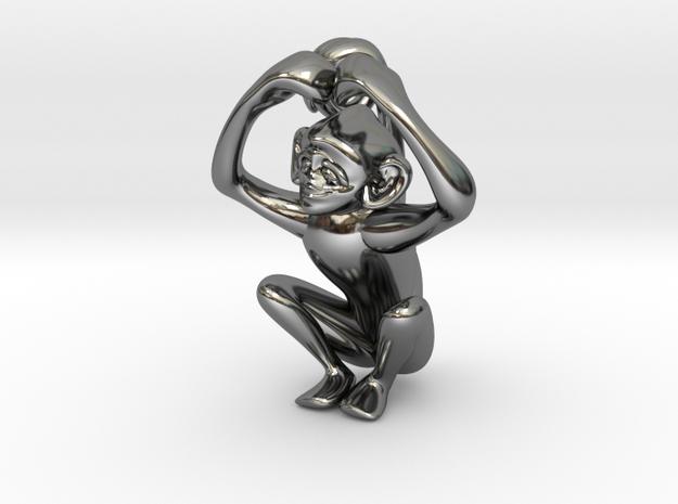 3D-Monkeys 160 in Fine Detail Polished Silver