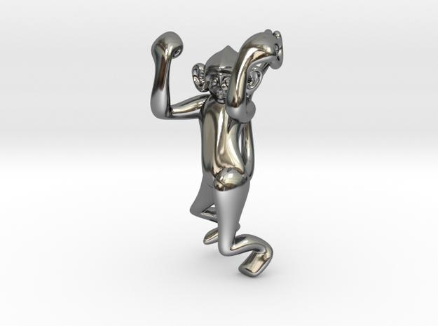 3D-Monkeys 184 in Fine Detail Polished Silver