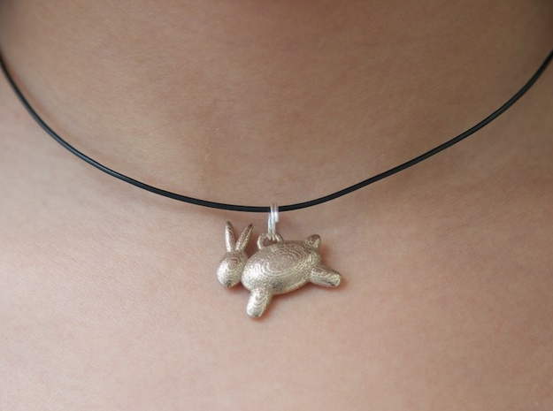 Bunny Pendant 3d printed (shown in stainless steel)