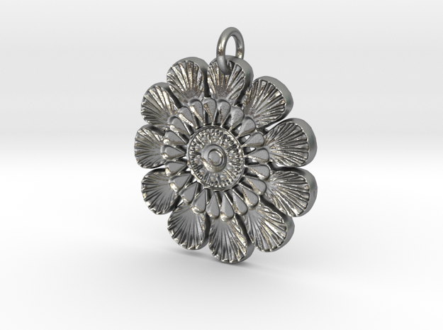Shells Mandala Pendant in Raw Silver