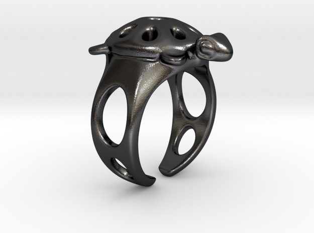 Turtle Ring 2 in Polished and Bronzed Black Steel