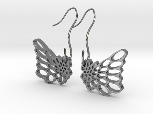 Butterfly Earrings in Fine Detail Polished Silver