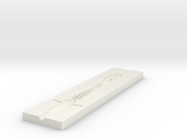 Jerk Bait mold B in White Natural Versatile Plastic
