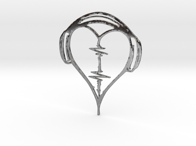 Musical Heart Pendant in Fine Detail Polished Silver