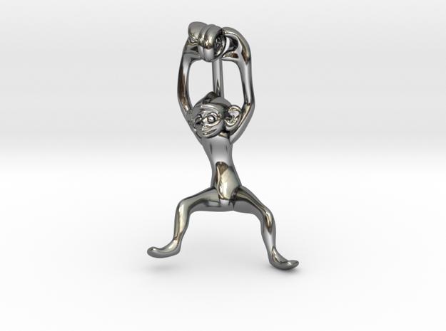 3D-Monkeys 299 in Fine Detail Polished Silver