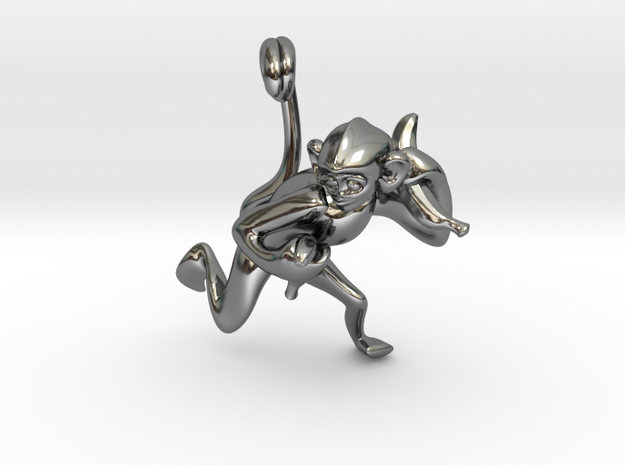 3D-Monkeys 314 in Fine Detail Polished Silver